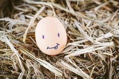 Geschilderde eieren over emotie op het gezicht Stock Fotografie
