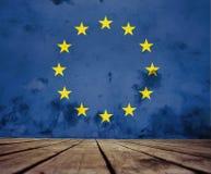 Geschilderde Europese Unie vlag stock illustratie