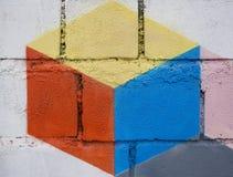 Geschilderde graffiti op grungemuur stock illustratie