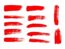 Geschilderde grunge geplaatste strepen Rode etiketten, achtergrond Royalty-vrije Stock Foto's