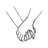 geschilderde handen die handen houden die op een witte achtergrond geïsoleerd zijn Royalty-vrije Stock Foto