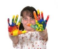Geschilderde Handen Klaar om het Af:drukken van de Hand te maken Royalty-vrije Stock Foto