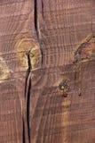 Geschilderde houten pijnboomstraal met een barst Macro Texture stock foto's