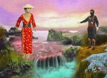 Geschilderde Illustratie van kleurrijke Aziatische Watervalscène op Sunny Day royalty-vrije stock foto