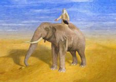 Geschilderde Illustratie van Woestijnavonturier het Berijden Olifant stock afbeeldingen