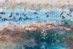 Geschilderde Impressionist, abstract beeld Overzeese diepte Mooie Abstracte Regeling stock afbeelding