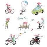 Geschilderde kinderen` s tekeningen voor de Dag van Valentine ` s Stock Foto's