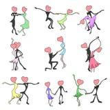 Geschilderde kinderen` s tekeningen voor de Dag van Valentine ` s Dansende paren Royalty-vrije Stock Afbeelding