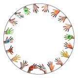Geschilderde kleurrijke handen Stock Foto