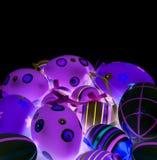 Geschilderde Kleurrijke Paaseieren Stock Afbeelding