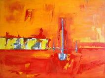 Geschilderde Landschap/Inham met Boten, Hemel + Oceaan Royalty-vrije Stock Afbeeldingen