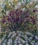 Geschilderde lilac bloemen met groene achtergrond royalty-vrije illustratie