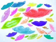 Geschilderde lippen op een witte achtergrond stock afbeeldingen