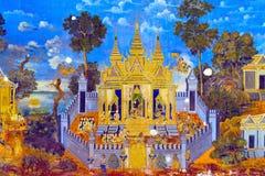 Geschilderde muur Royal Palace Pnom Penh, Kambodja Stock Foto's