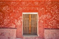Geschilderde Muur Teotihuacan Mexico Stock Afbeelding