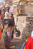 Geschilderde olifant met ruiter in Jaipur royalty-vrije stock afbeelding