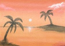 Geschilderde oranje zonsondergang stock afbeelding