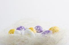 Geschilderde Paaseieren in een nest Stock Fotografie