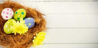 Geschilderde Paaseieren in Nest Stock Foto's
