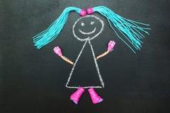 Geschilderde pop met blauwe vlechten op een zwarte achtergrond royalty-vrije illustratie