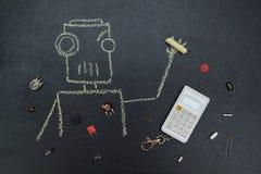 Geschilderde robot met elektrische delen en calculator vector illustratie