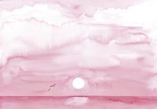 Geschilderde roze zonsondergang royalty-vrije illustratie