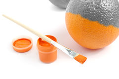 Geschilderde sinaasappel Stock Foto's