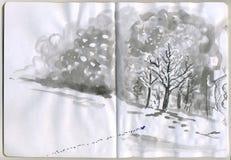 Geschilderde Sketchbook - sneeuw Stock Fotografie