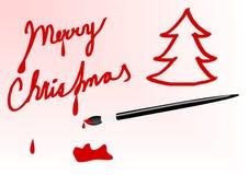 Geschilderde teken vrolijke Kerstmis Stock Foto's