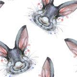 Geschilderde tekening met portret van het waterverf het naadloze patroon van een dierlijke haas van het zoogdierkonijn in bedkleu Stock Foto's