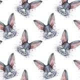 Geschilderde tekening met portret van het waterverf het naadloze patroon van een dierlijke haas van het zoogdierkonijn in bedkleu Stock Foto