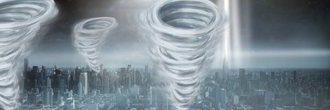 Geschilderde tornadotwisters en stad Stock Afbeeldingen
