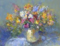 Geschilderde vaas van bloemen Stock Fotografie