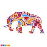 Geschilderde vectorolifant Royalty-vrije Stock Foto's