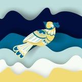Geschilderde vogel op blauwe golven Stock Afbeeldingen
