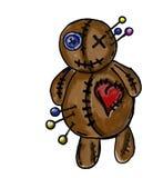 Geschilderde voodoopop, grafische tekening vector illustratie