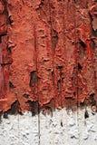 Geschilderde waarschuwende strepen op nutspool Stock Fotografie