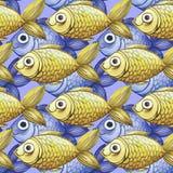 Geschilderde waterverf naadloze achtergrond, gele en purpere vissen, fijne tekening Stock Afbeeldingen