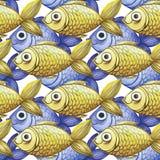 Geschilderde waterverf naadloze achtergrond, gele en purpere vissen, fijne tekening Stock Foto