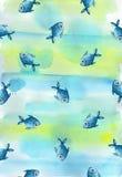 Geschilderde waterverf vage achtergrond in blauwe en gele tonen Royalty-vrije Stock Foto's