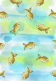 Geschilderde waterverfachtergrond met vissen van kinderen` s de gouden gele vissen Royalty-vrije Stock Afbeelding
