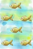 Geschilderde waterverfachtergrond met vissen van kinderen` s de gouden gele vissen Stock Foto's