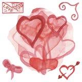 Geschilderde waterverfhand, abstracte samenstelling van rode heartsground r r vector illustratie
