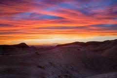 Geschilderde Woestijnzonsondergang Stock Afbeelding