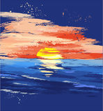 Geschilderde zonsondergang op het overzees Royalty-vrije Illustratie