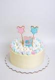 Geschlecht decken Kuchen mit Eibisch und Lebkuchen auf lizenzfreies stockbild