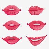 Geschlecht von sechs rosafarbenen weiblichen Lippen Stockfotografie