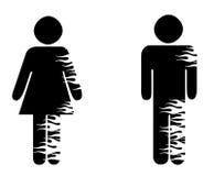 Geschlechtssymbole mit Flammen Stockbild