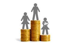 Geschlechtsunterschiede bezüglich der Gehälter Stockbild