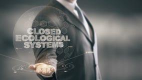 Geschlossene ökologische Systeme mit Hologrammgeschäftsmannkonzept lizenzfreie abbildung